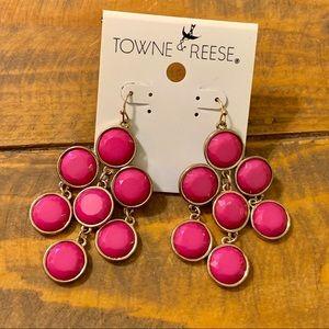 Towne & Reese Dangling Pink Earrings Faucet Cut